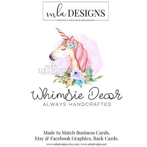 Unicorn Logo Premade Unicorn Logo Watercolor Logo Boutique Etsy