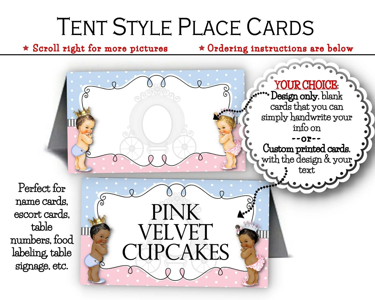 Tent Style Name Cards Escort or Place Cards Food Labels Etsy