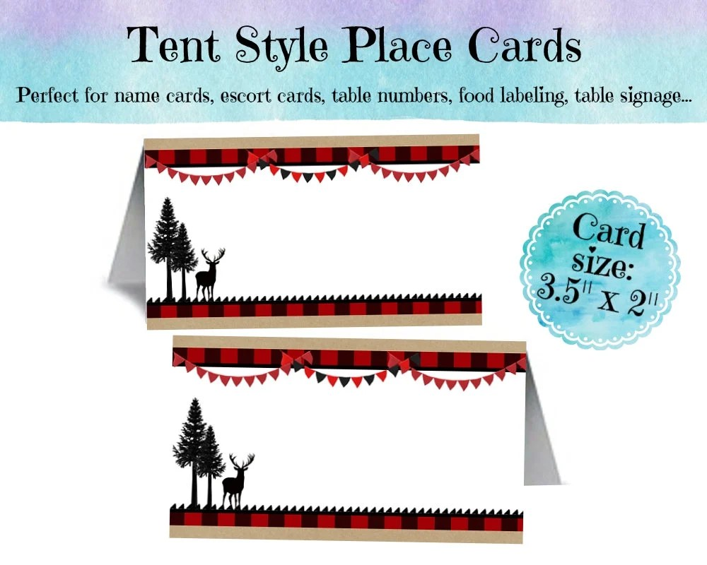 12 Tent Style Place Cards, Name Cards, Food Label Cards, Birthday