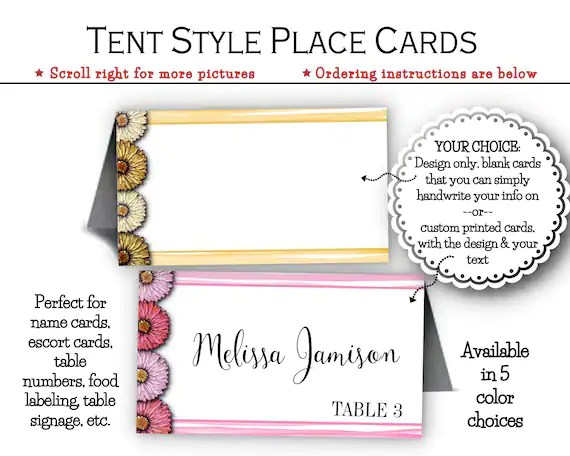Tent Style Place Cards, Escort Cards, Food Labels, Table Signs