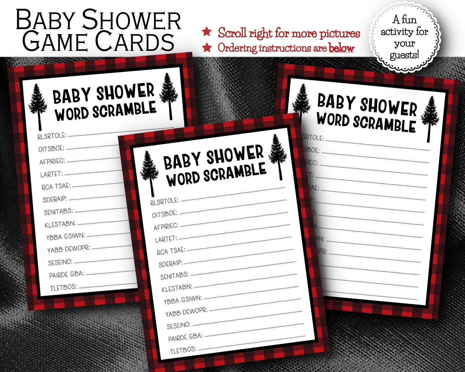 Baby Shower Word Scramble Cards, Baby Shower Activity Party Game