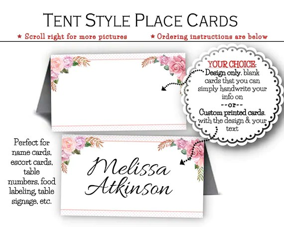Tent Style Place Cards, Escort or Name Cards, Food Labeling Cards