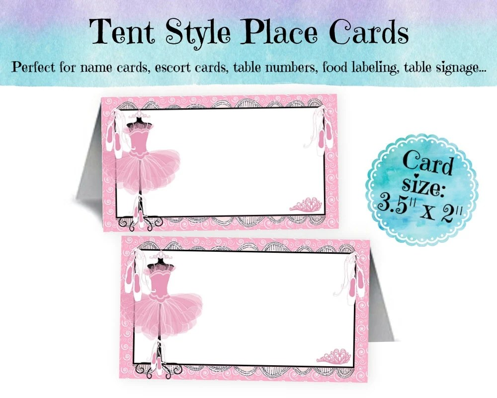 12 Tent Style Place Cards, Name Cards, Buffet Cards, Food Labeling