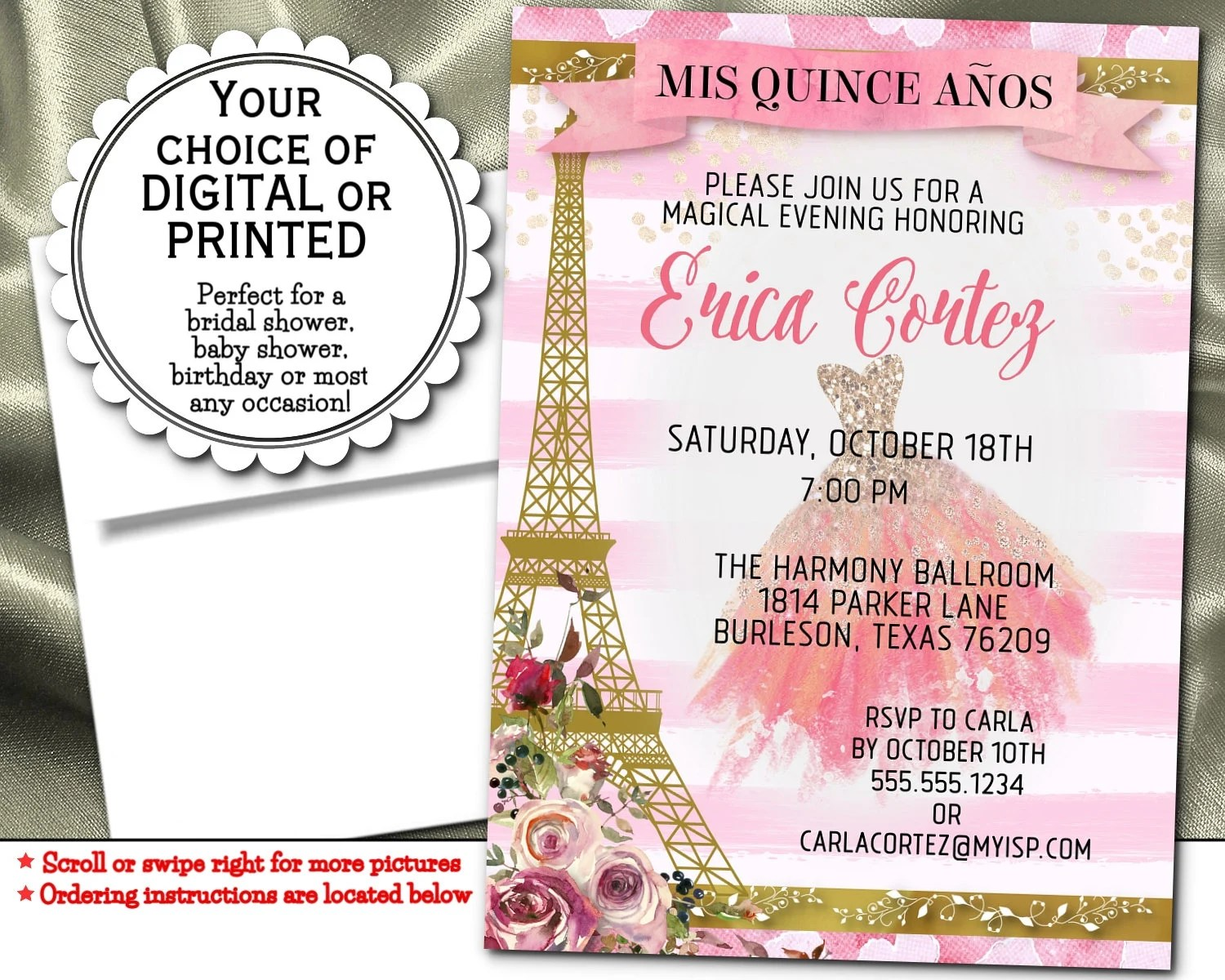 Party Invitations Pink Roses Flowers Pink Gown French