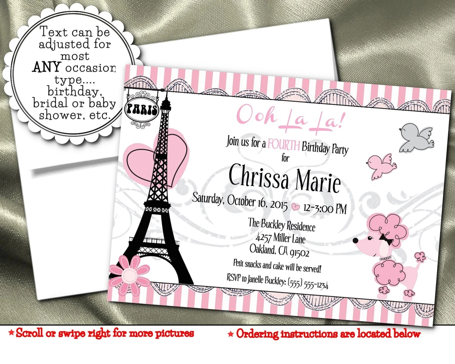Party Invitations French Poodle Paris Eiffel Tower Pink