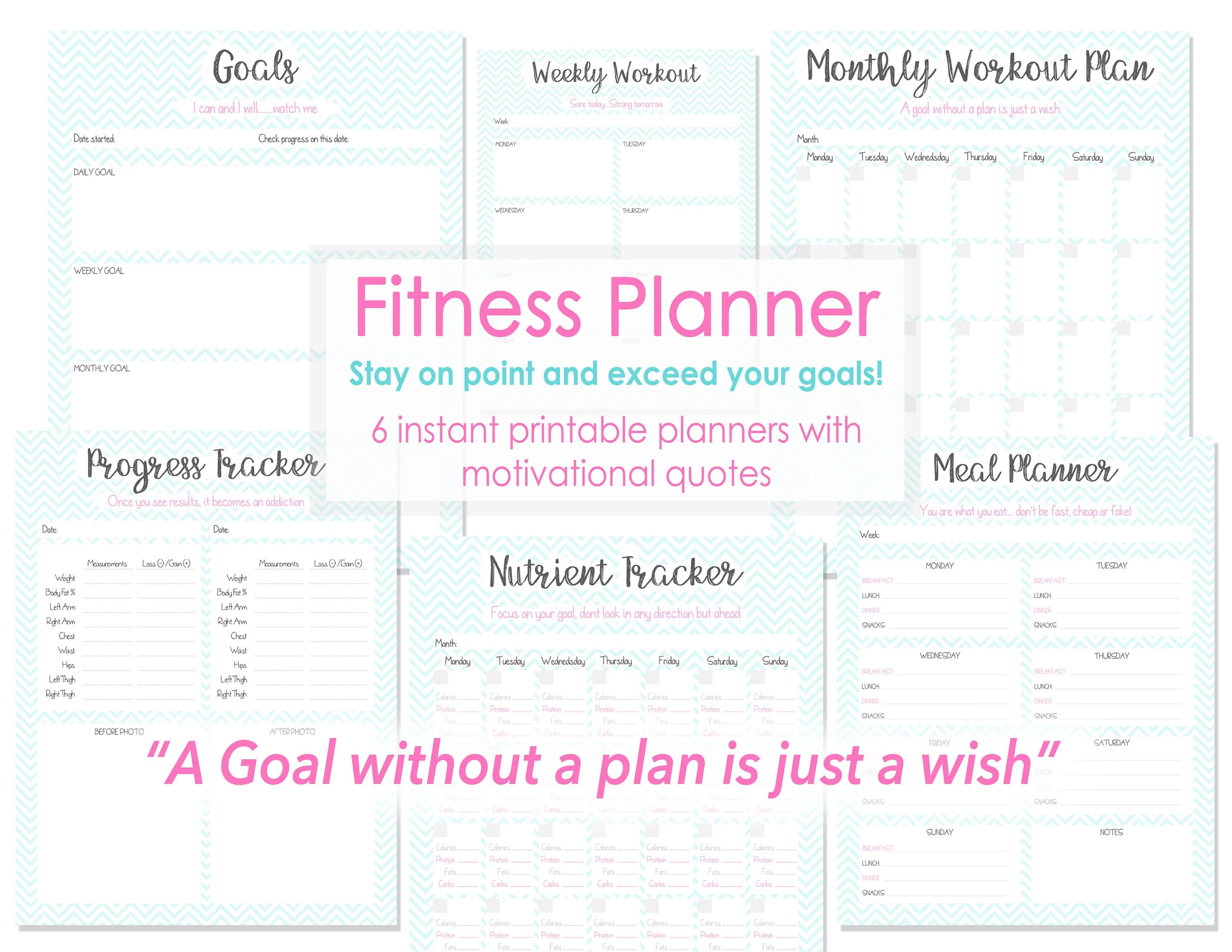 Fitness Planner Fitness Tracker Exercise Tracker Fitness Etsy - nutrition tracker