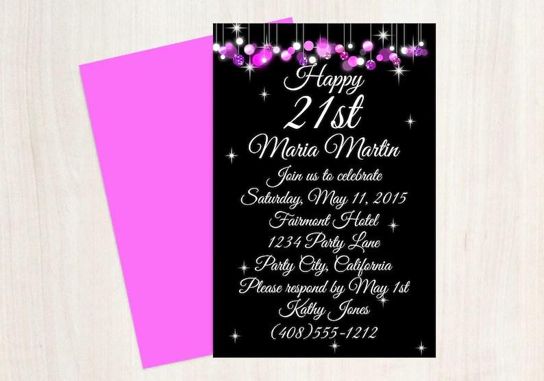 21st Birthday Invitation 21st Birthday Party Pink Black Etsy