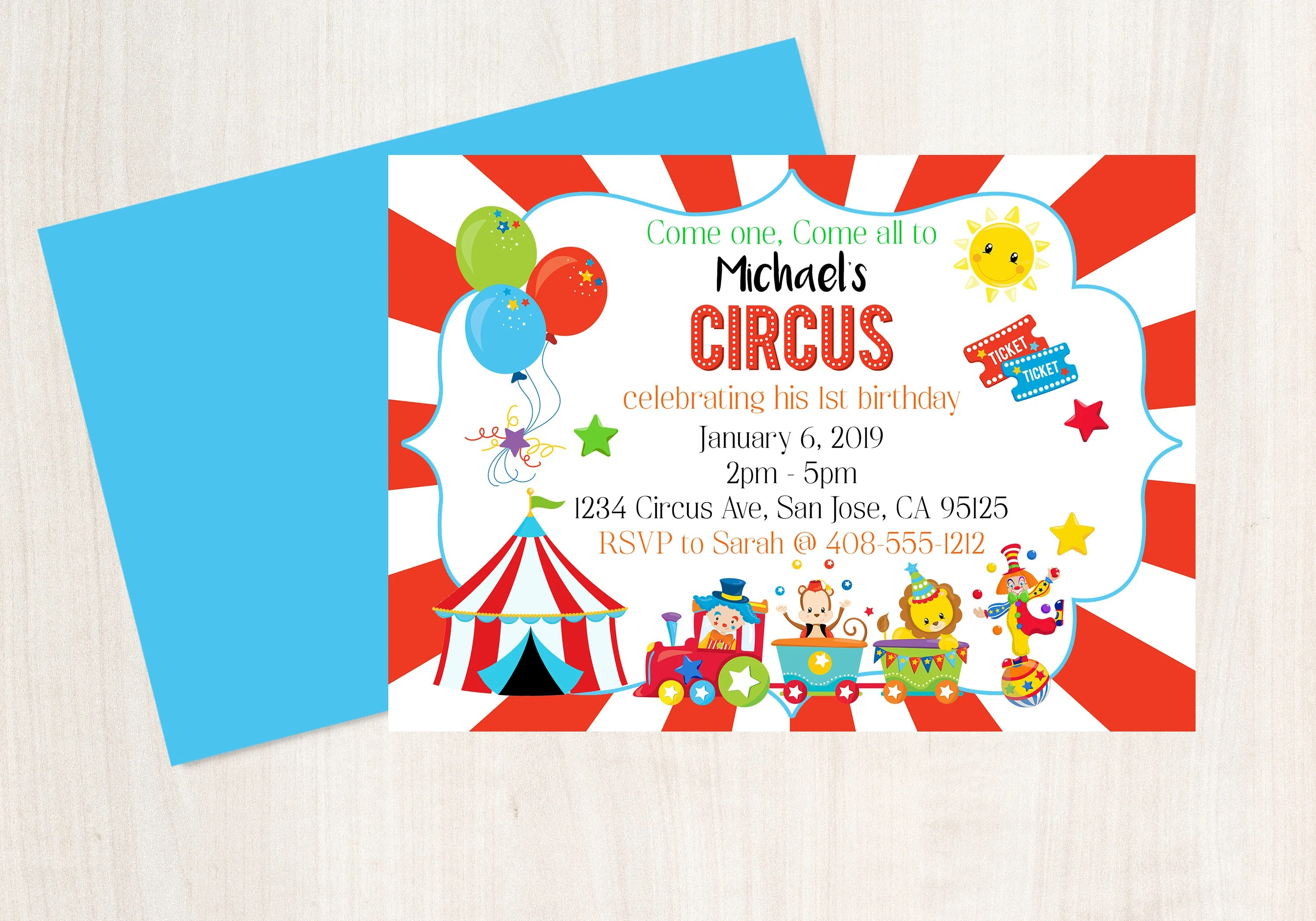 Circus Invitation Circus Invite Circus Party 1st Birthday Etsy