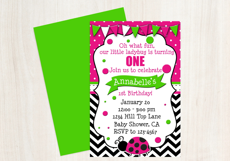 Ladybug 1st Birthday Ladybug Invitation Hot Pink Green Etsy