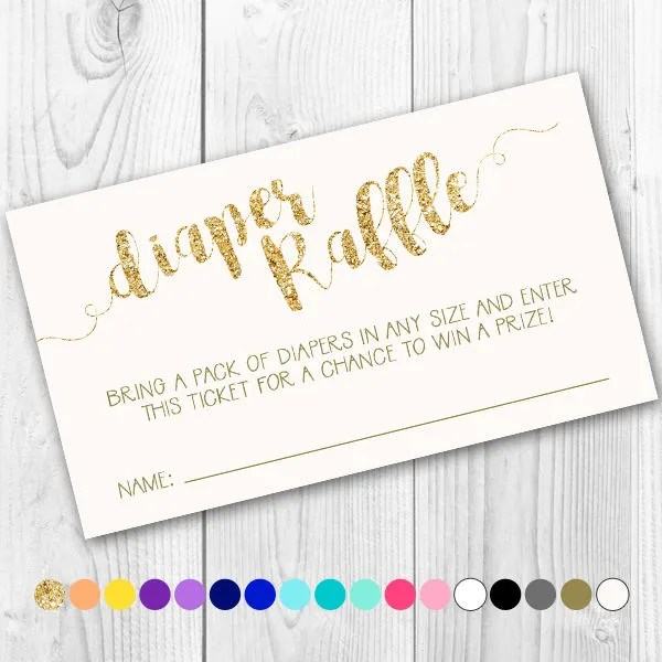 Diaper Raffle Tickets in Your Choice of Colors Etsy