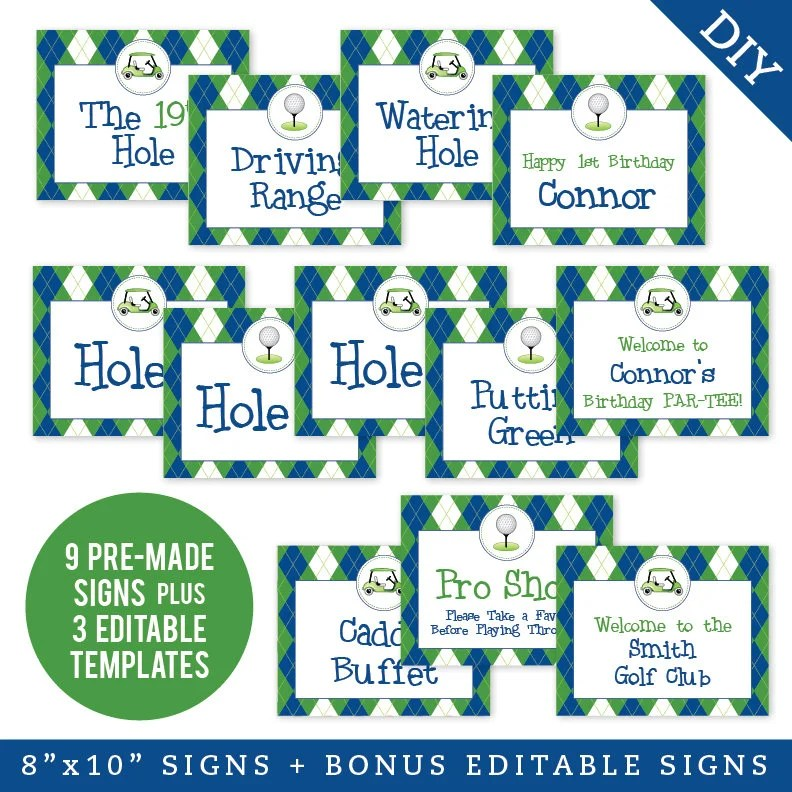 EDITABLE INSTANT DOWNLOAD Navy Golf Party Signs Printable Etsy