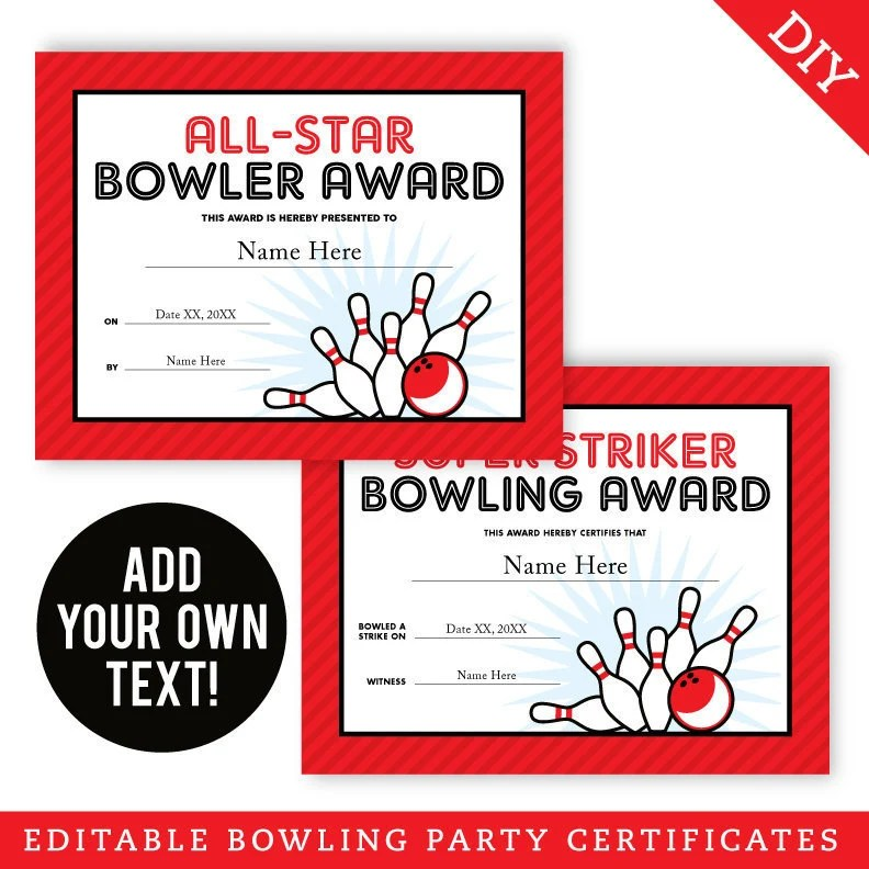 EDITABLE INSTANT DOWNLOAD Bowling Party Certificates - Editable