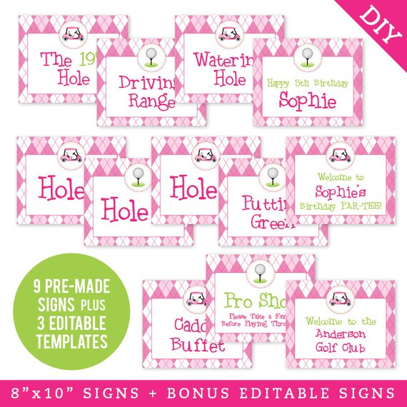 EDITABLE INSTANT DOWNLOAD Pink Golf Party Signs Printable Etsy