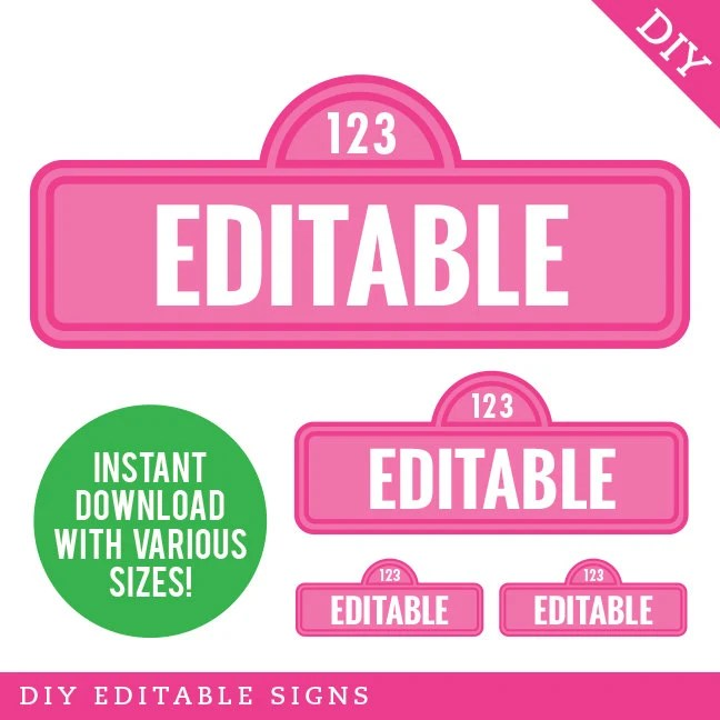EDITABLE INSTANT DOWNLOAD Pink Sesame Street Signs Editable Etsy