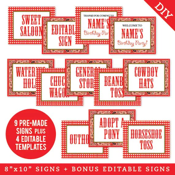 EDITABLE INSTANT DOWNLOAD Country-Western Party Signs Etsy