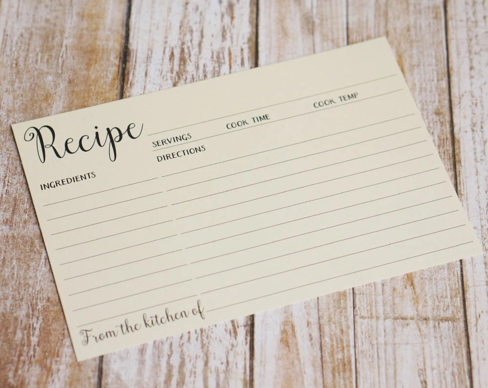 Cream Double Sided Recipe Card Wedding Kitchen Shower Gift Etsy