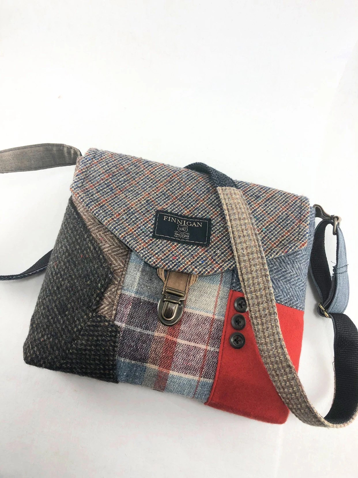Tasche Recycling Recycling Tasche Umhängetasche Crossbody Tasche Recycling Crossbody Geldbeutel Wolle Iphone Tasche Recycling Herren Suitcoat Tasche Sofort Lieferbar