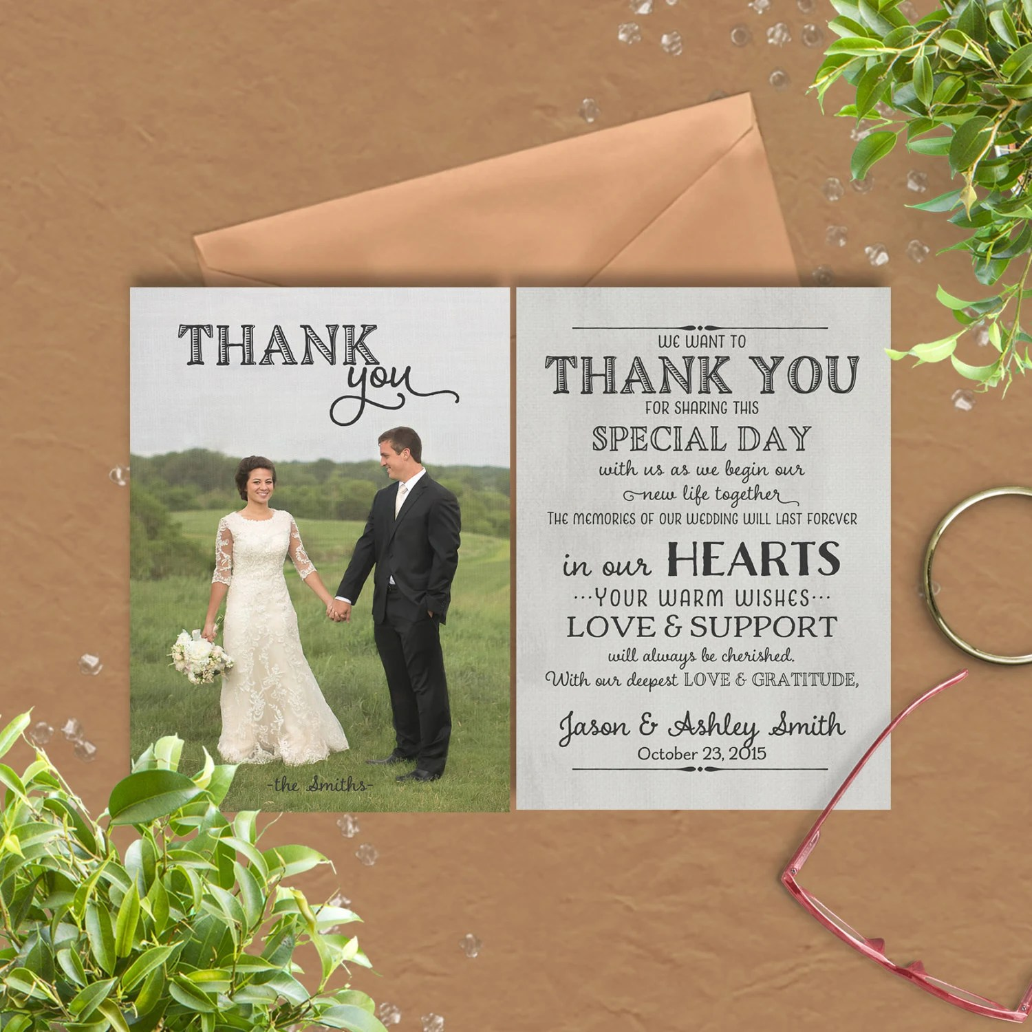 Wedding Thank You Card with pre-printed Thank You Message on Etsy