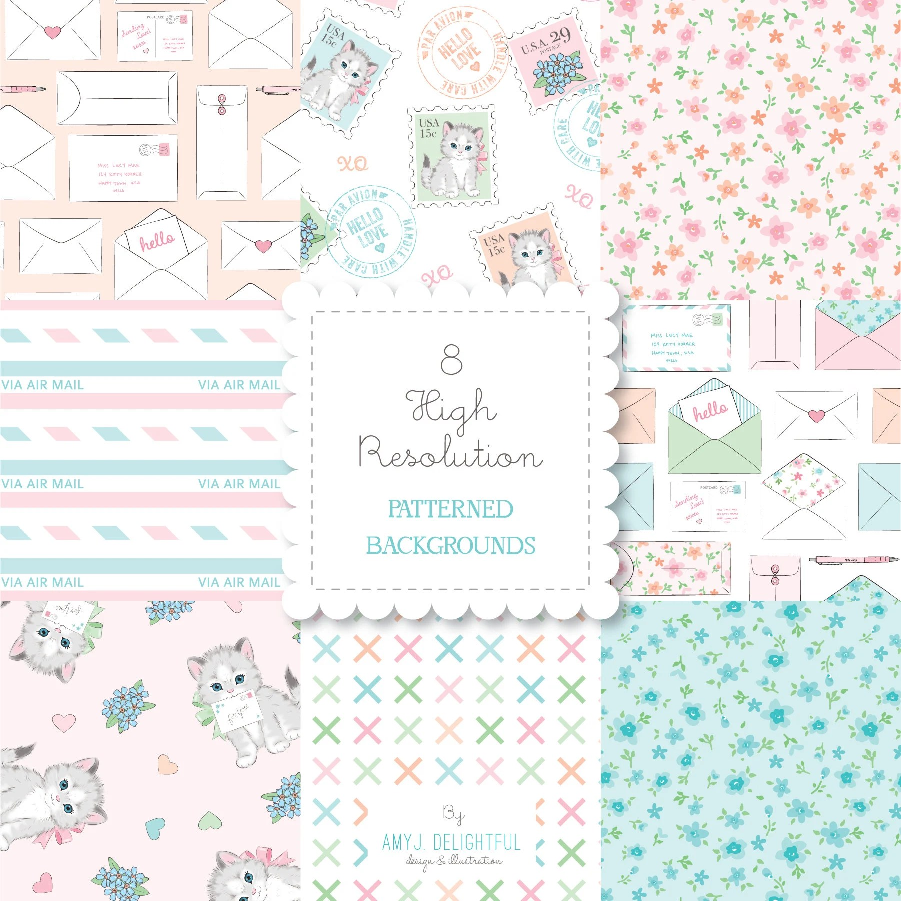 Kitten Mail PATTERNED BACKGROUND set-instant download-for Etsy - mail background