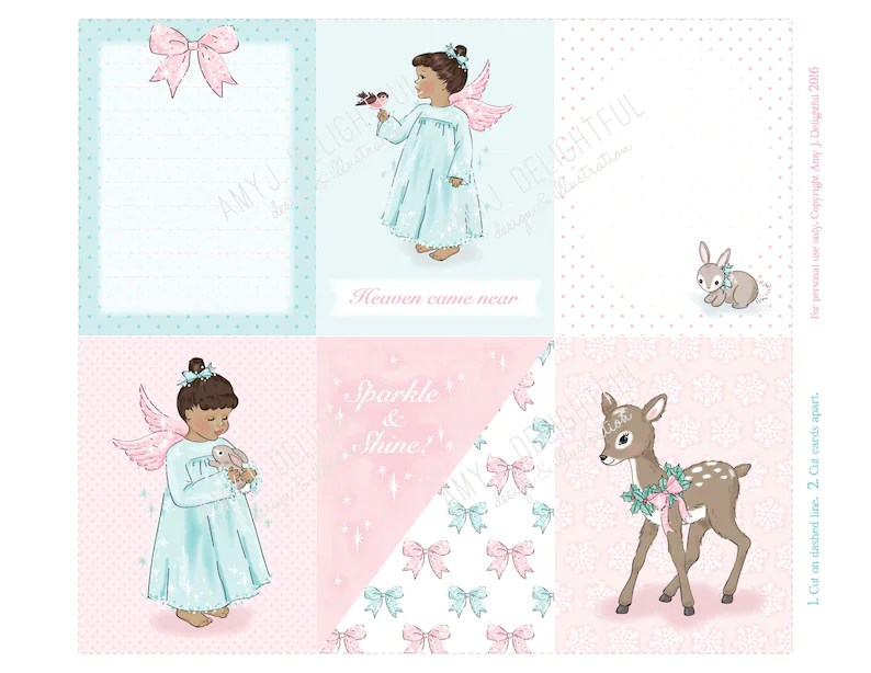 Printable Little Christmas Angels Journal cards Instant Etsy