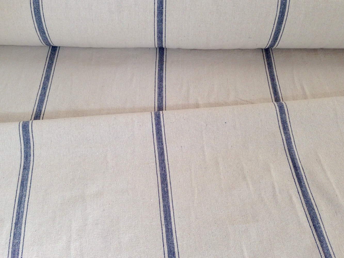 Flour Sack Fabric By The Yard Grain Sack Fabric Sold By The Yard Blue Stripe Vintage Etsy