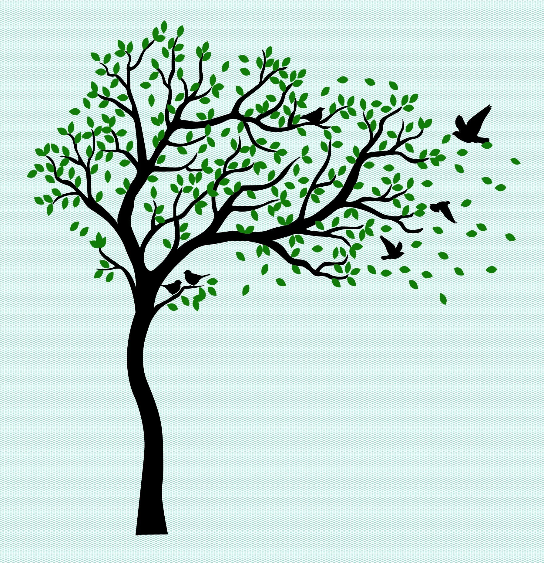 Tree two color With Birds Family Tree Digital file only Etsy