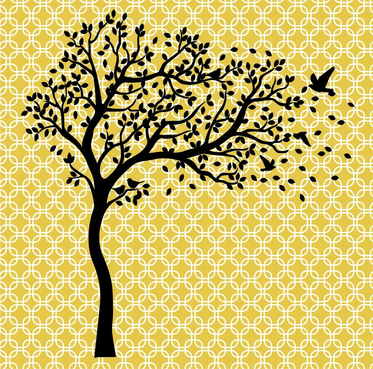 Tree one color With Birds Family Tree Digital file only Etsy