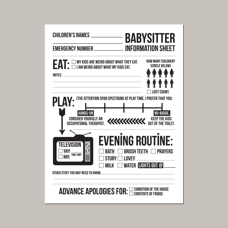instant downloadable babysitter information sheet for - babysitting information sheets