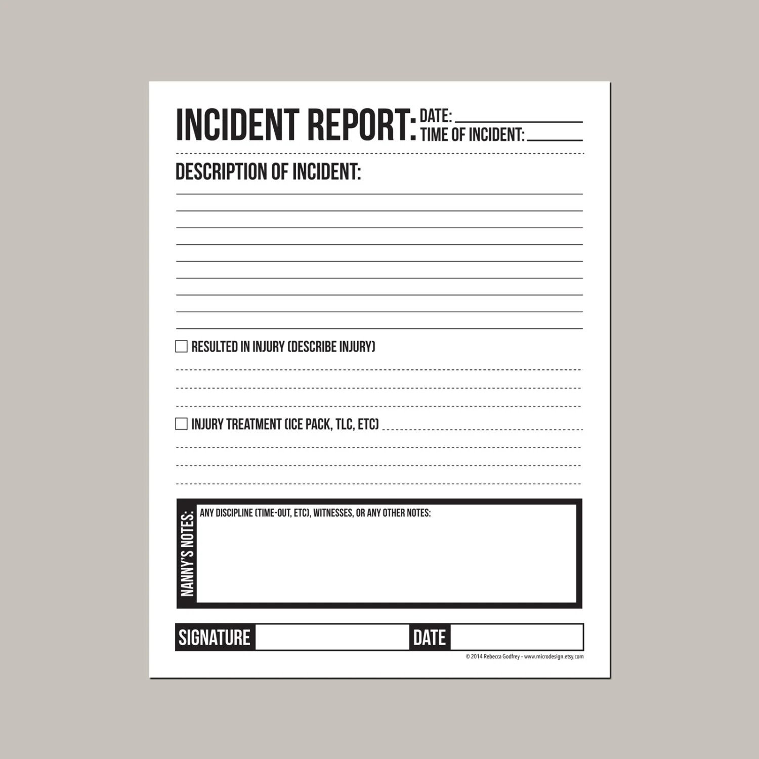 Incident report for nanny or daycare worker Etsy