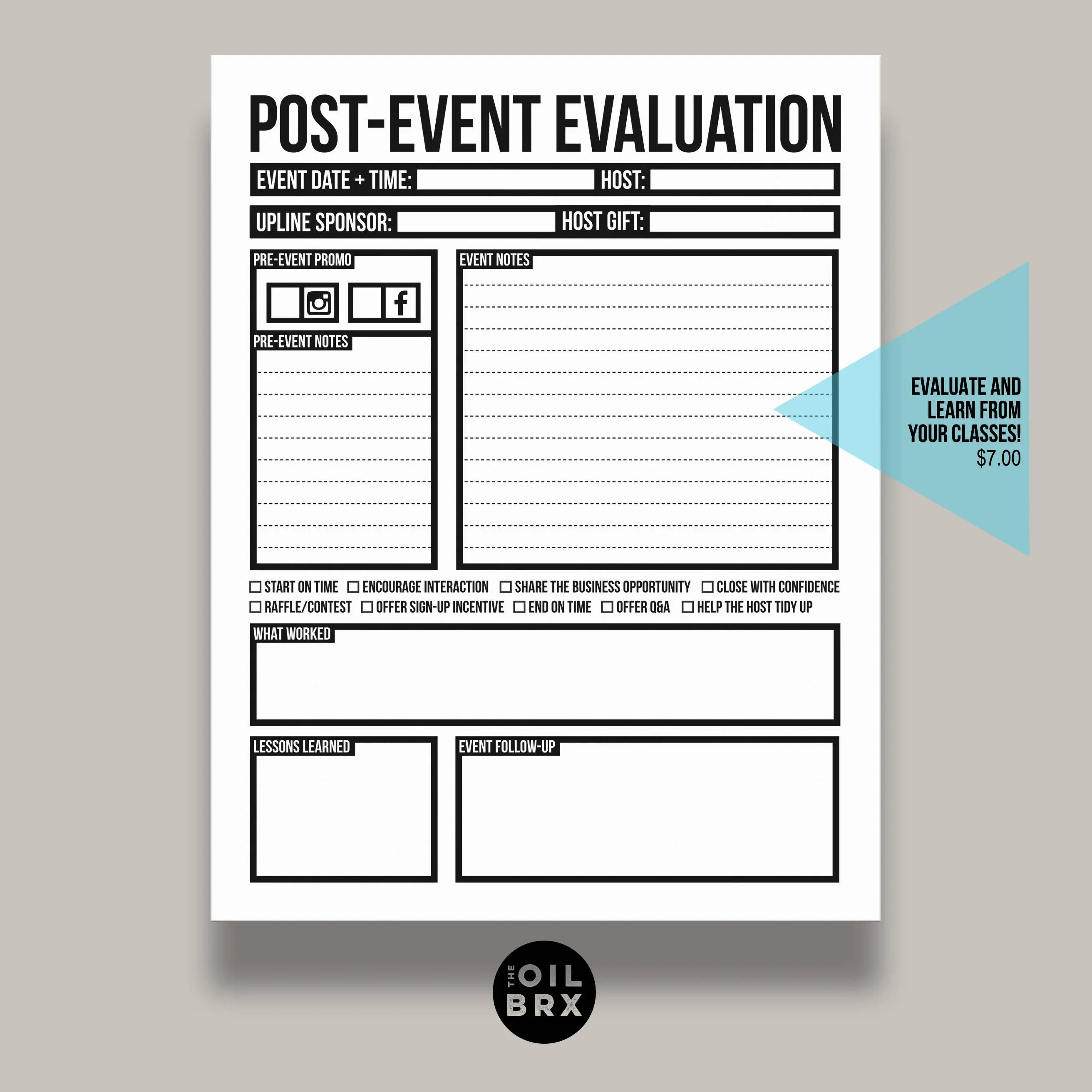 Post-Event Evaluation Form for Home Classes or Parties Etsy