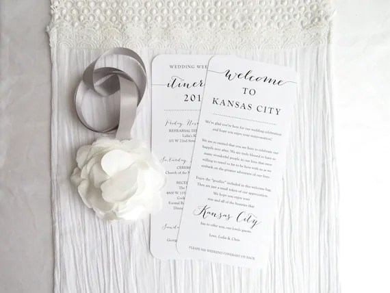 Double Sided Welcome Itinerary Wedding Welcome Card Double Etsy