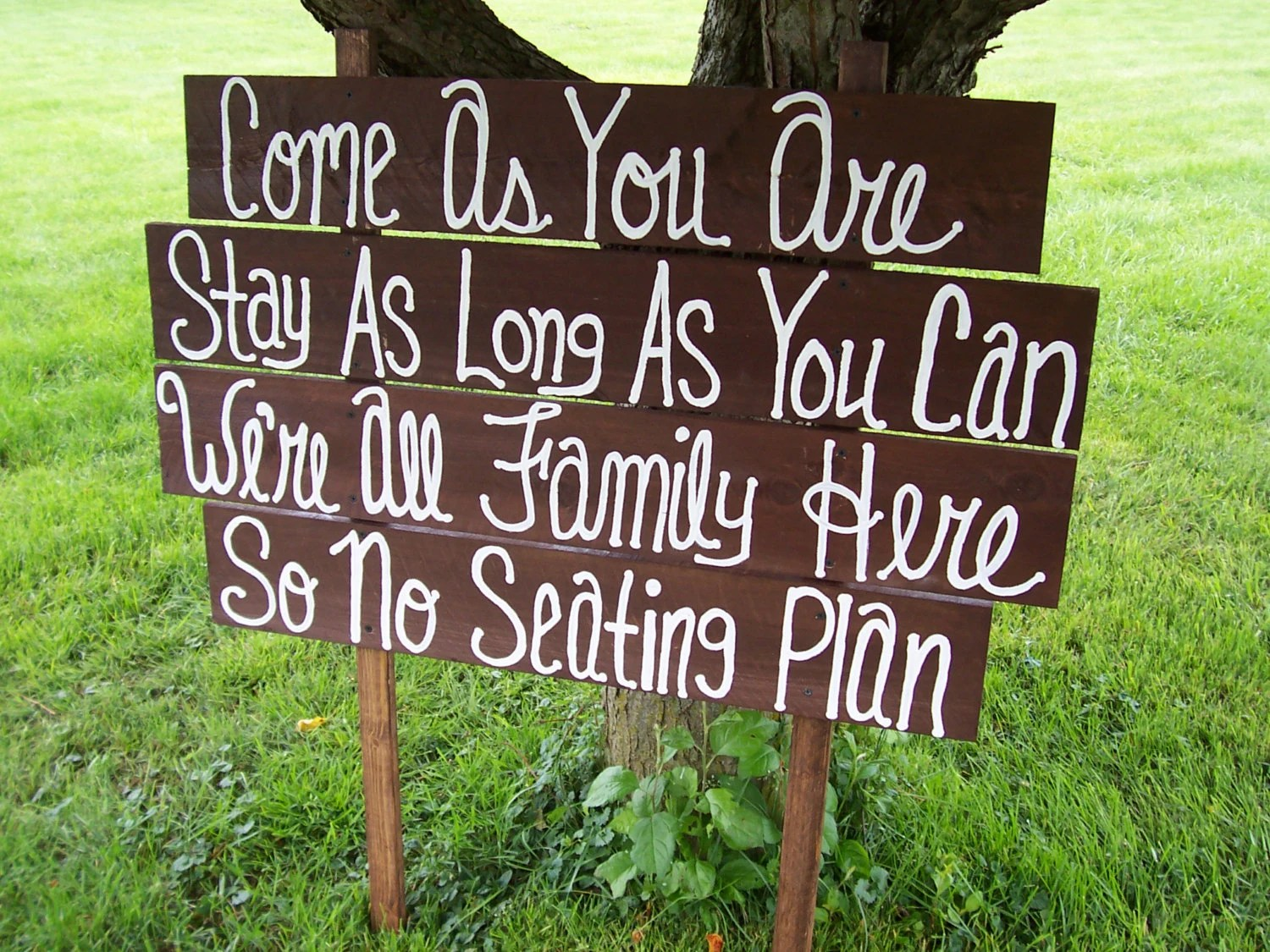 family wedding sign / come as you are / wedding decorations / no