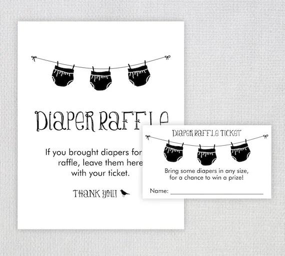 Diaper Raffle Ticket / Instant Download / Baby Shower Printable