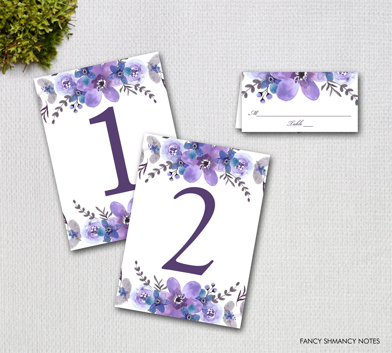Printable Place Cards and Matching Table Numbers, Purple Watercolor