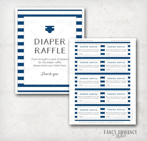 Diaper Raffle Ticket / Instant Download / Printable Raffle Etsy