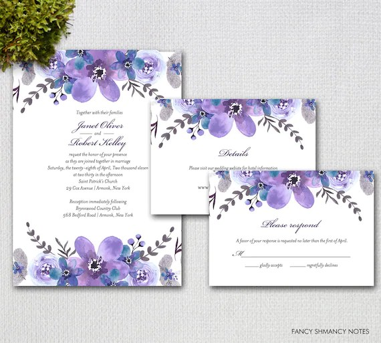 Printable Wedding Invitaions, Purple Watercolor Flowers, Wedding