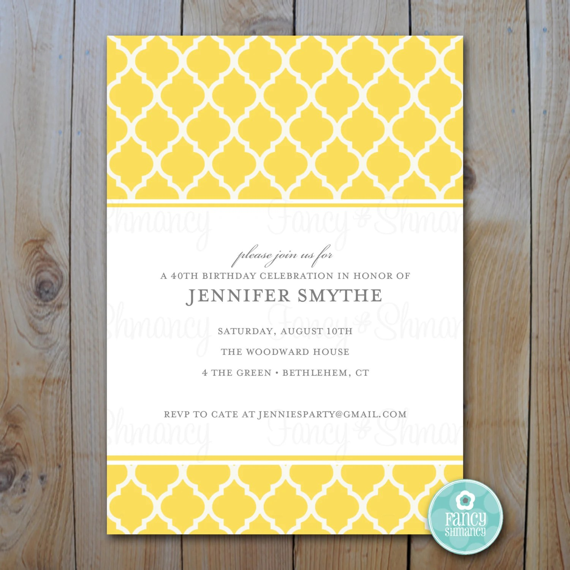 Yellow Quatrefoil Invitation / Blank Printable Template / Instant