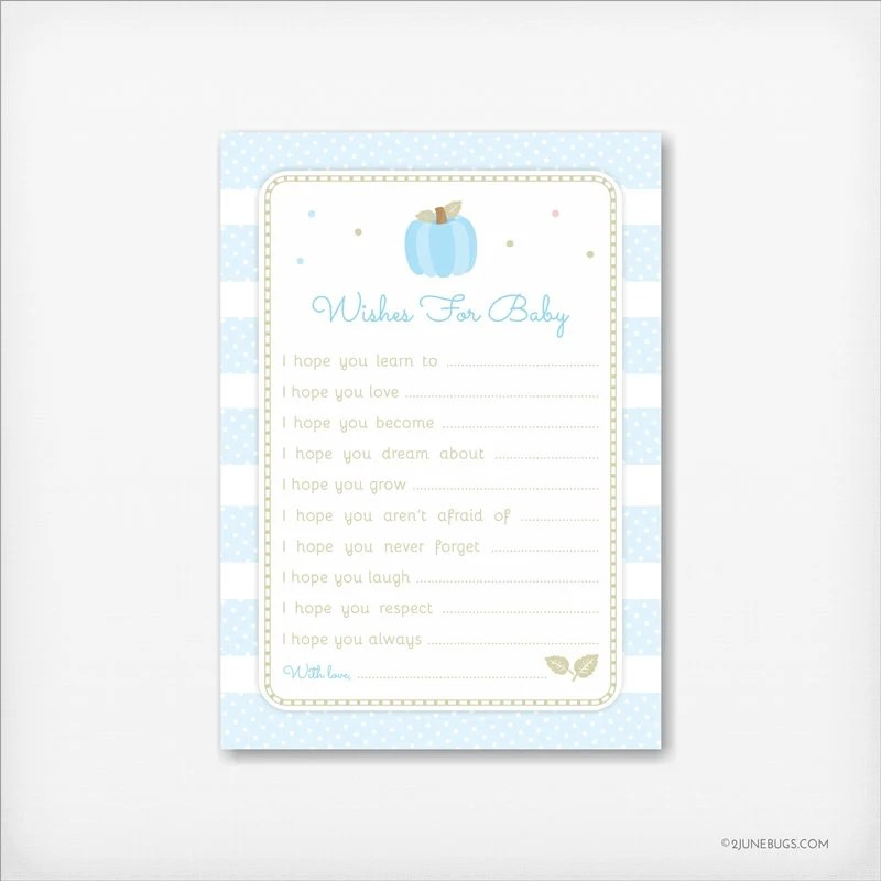Little Pumpkin Wishes for Baby Boy in blue and brown, Baby Wishes