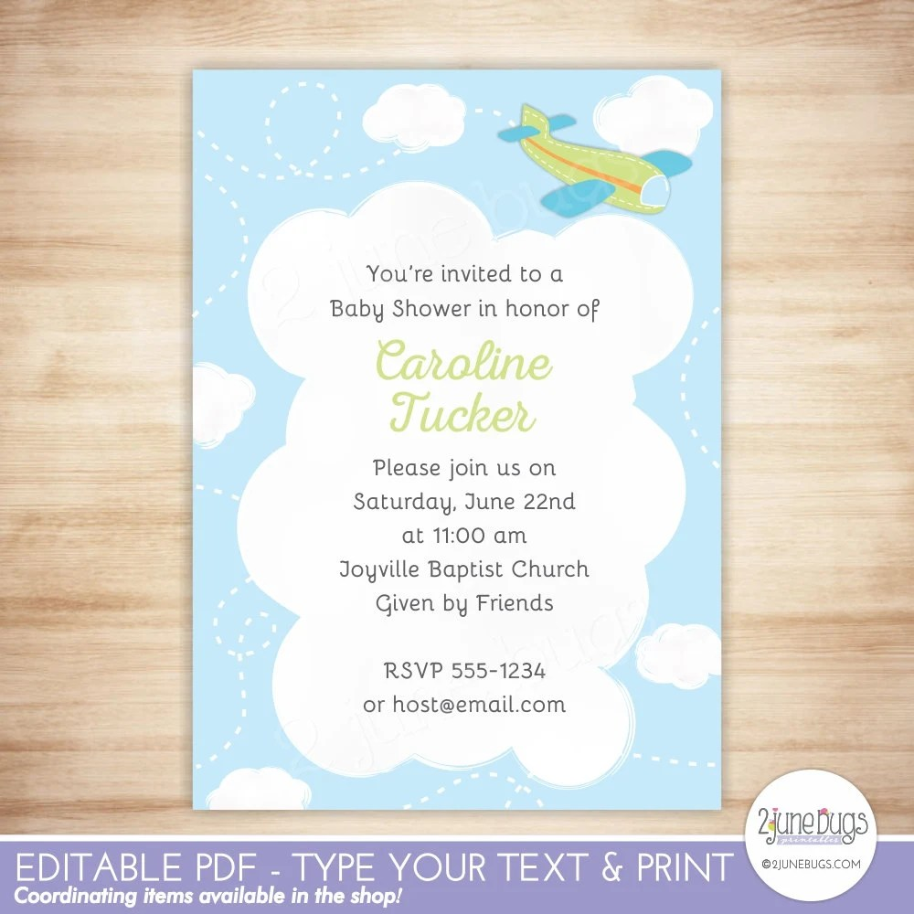 EDITABLE Airplane Baby Shower Invitation TEMPLATE - Green Airplane
