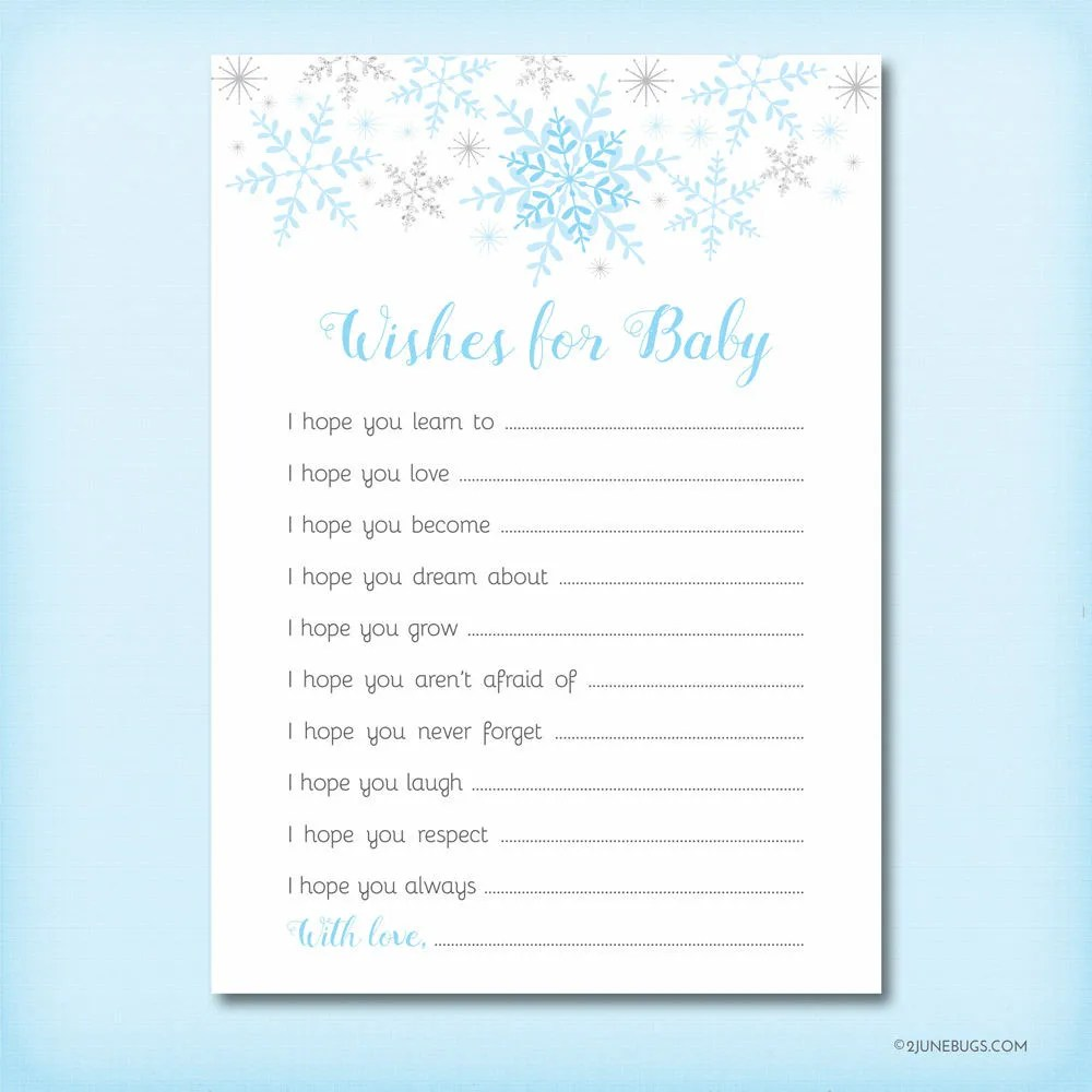 Little Snowflake Wishes for Baby, Baby Shower Well Wishes, Baby Wish