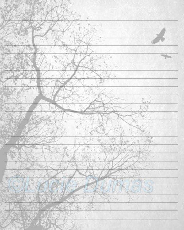 Digital Printable Journal Page Design 24 Tree Bird Stationary Etsy