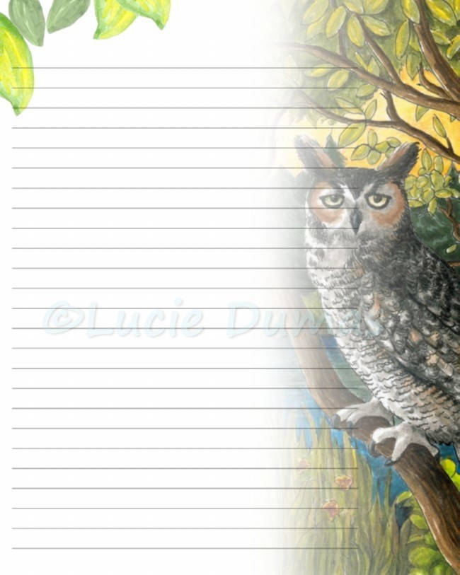 Digital Printable Journal writing lined Page Bird 68 Owl Etsy
