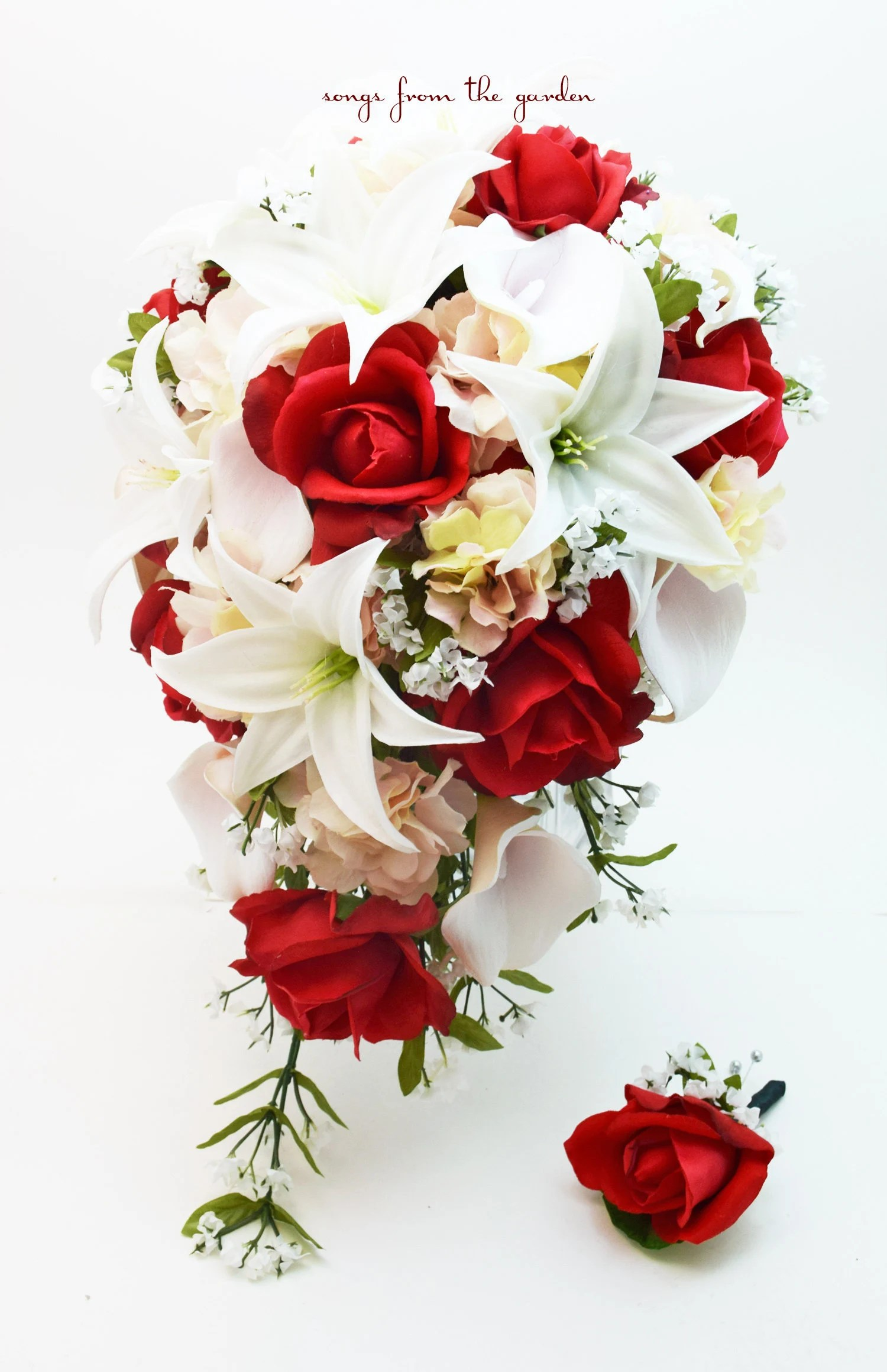 Hochzeitsstrauß Weinrot Cascade Bridal Bouquet Red White And Blush Real Touch White Lilies Red Roses Add A Groom S Boutonniere Winter Wedding Bouquet