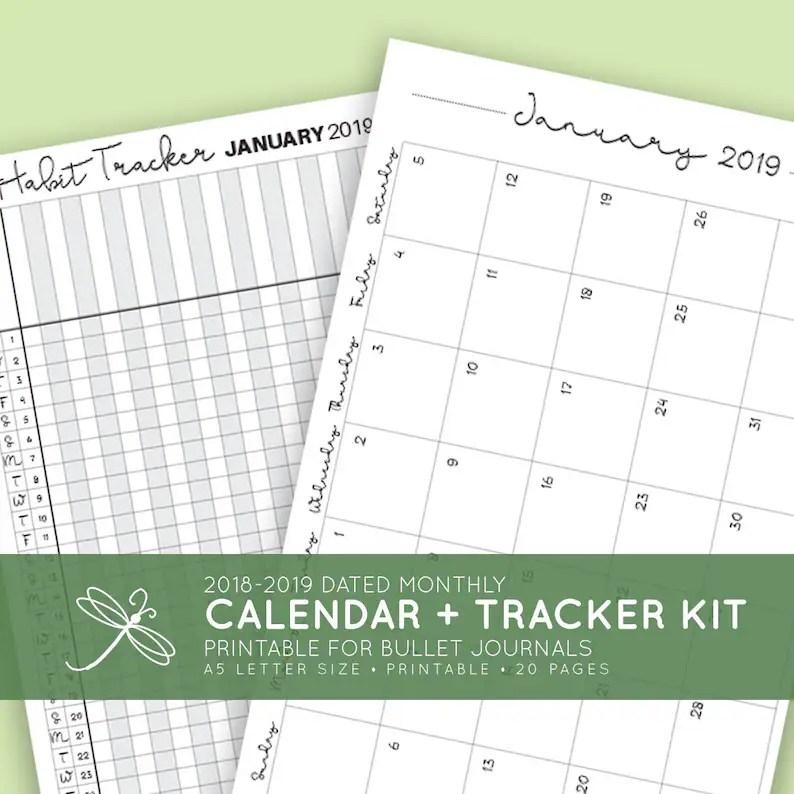 2019 Monthly Calendar Habit Tracker Kit / A5 / Printable / Etsy