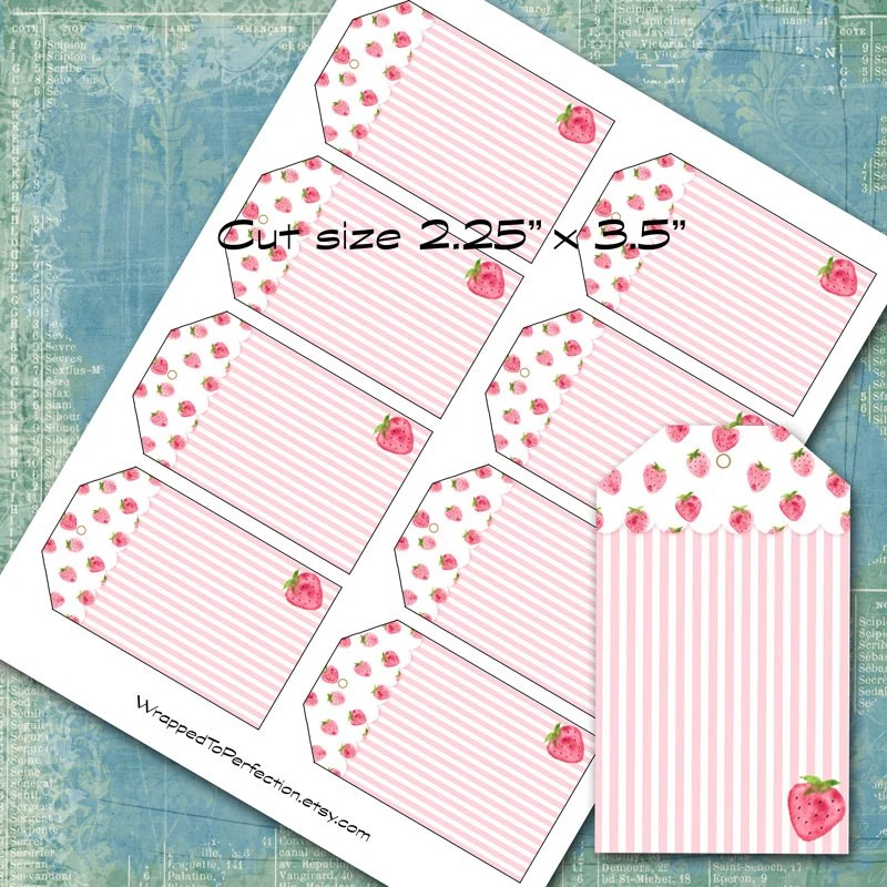 Strawberry Gift Tags / Pink and White / Plain or Customized / Etsy