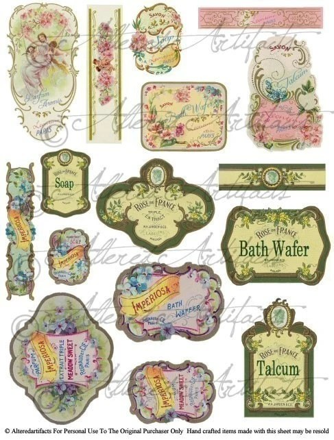 Printable Vintage French Perfume Labels Digital Bottle Labels Etsy