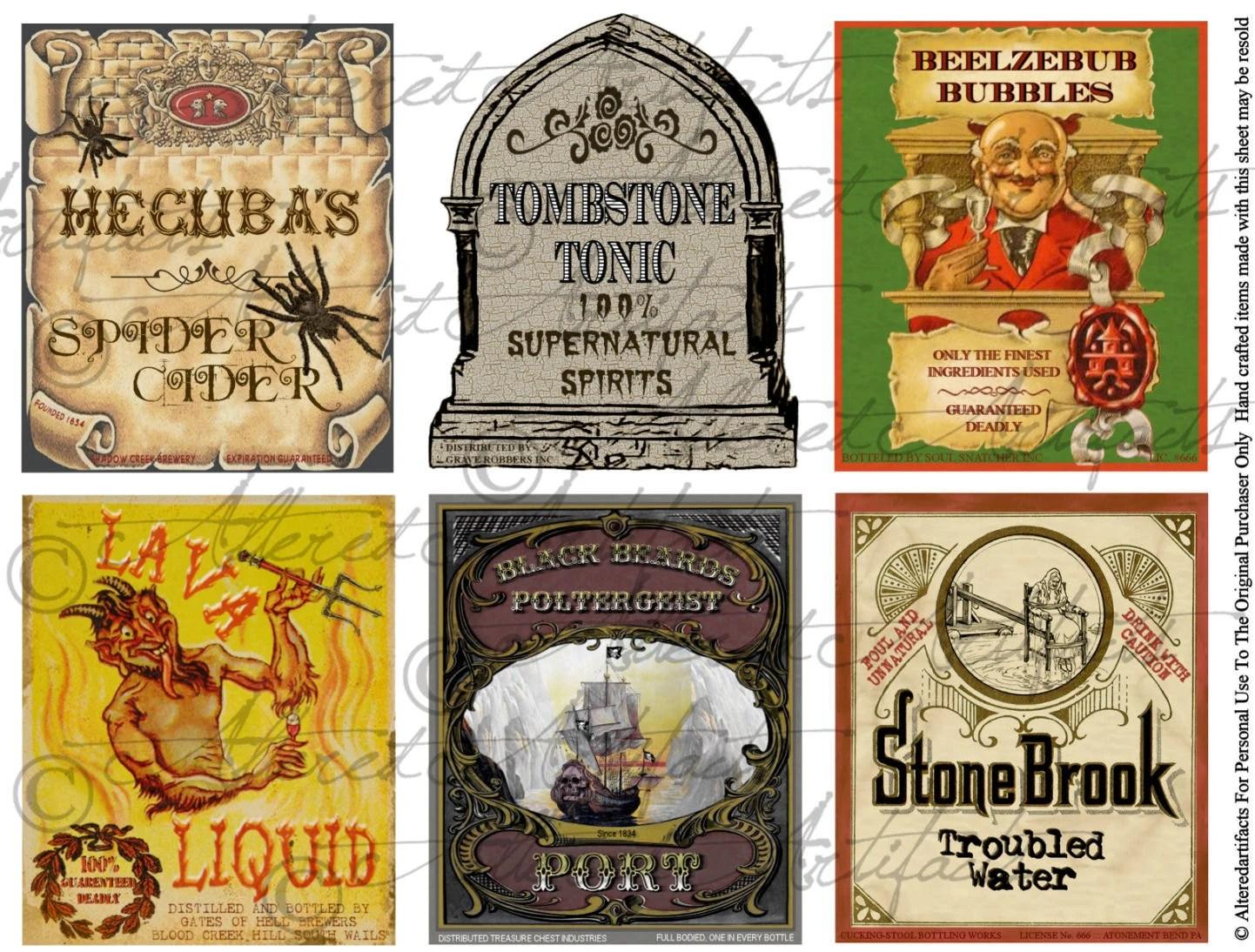 Printable Halloween Drinks Labels Wine Water Punch Drink Etsy