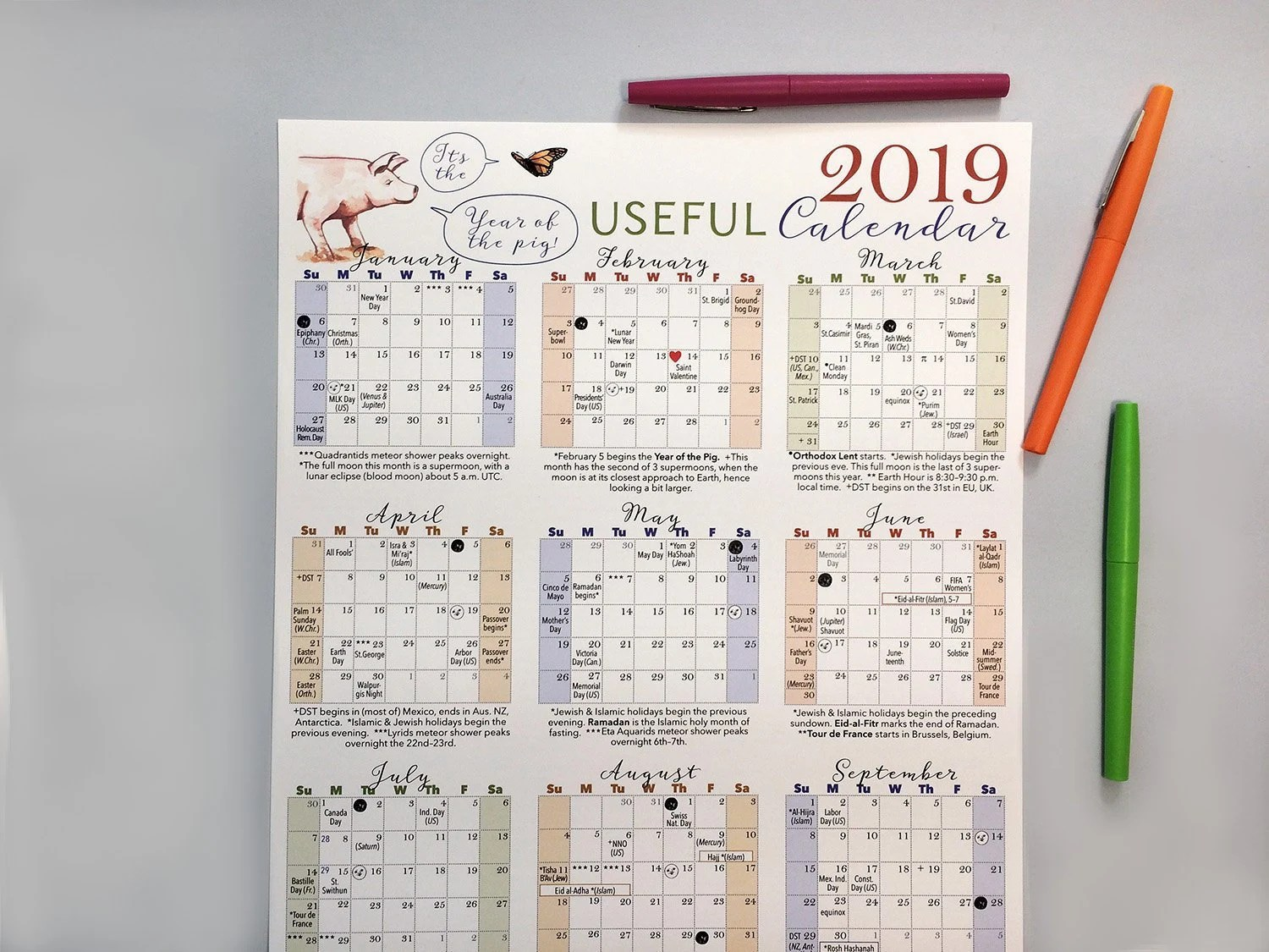 2019 wall calendar Full year calendar on one page with major Etsy
