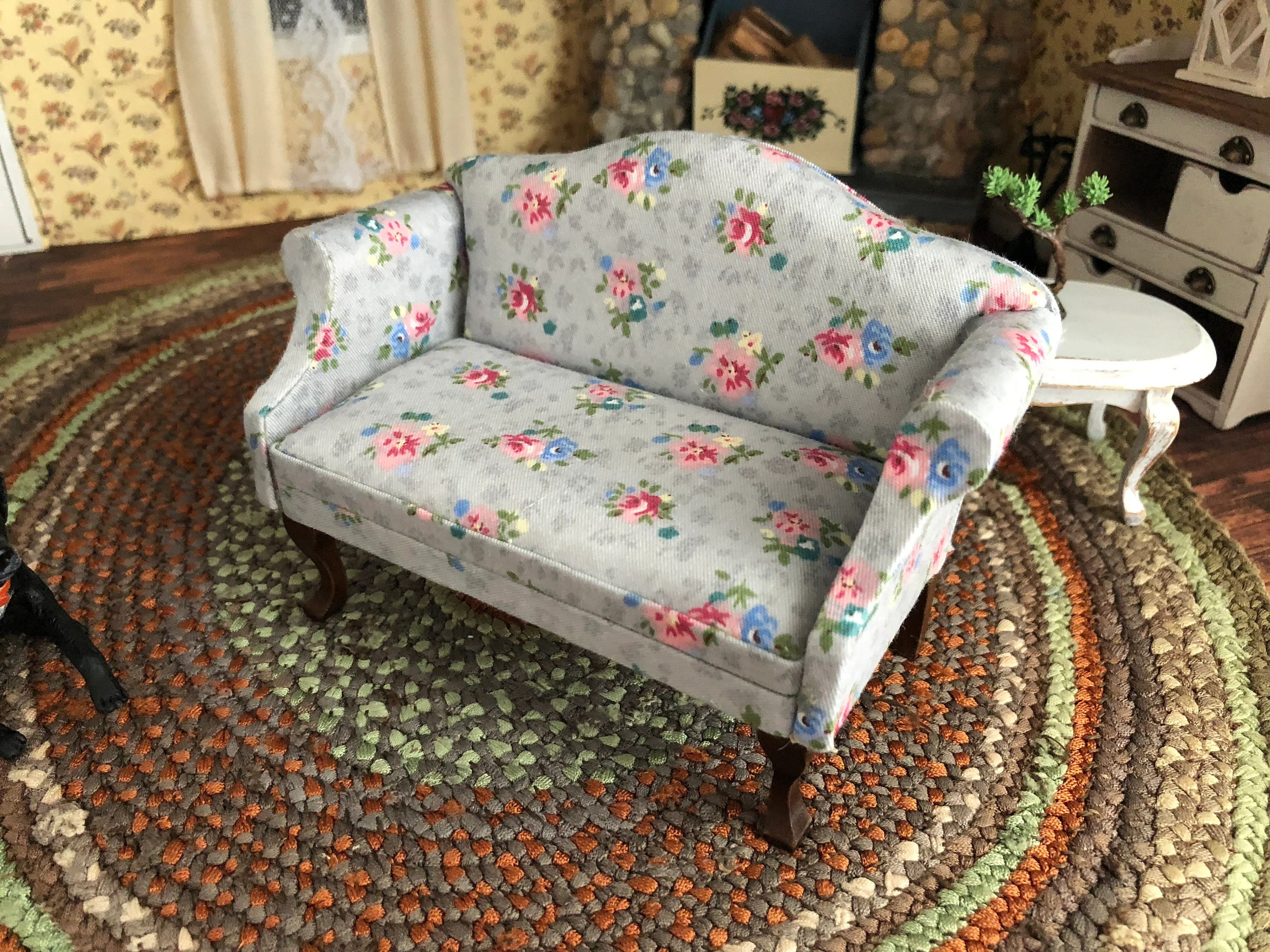 Mini Sofa Hong Kong Miniature Sofa Gray Floral Fabric Sofa With Walnut Legs