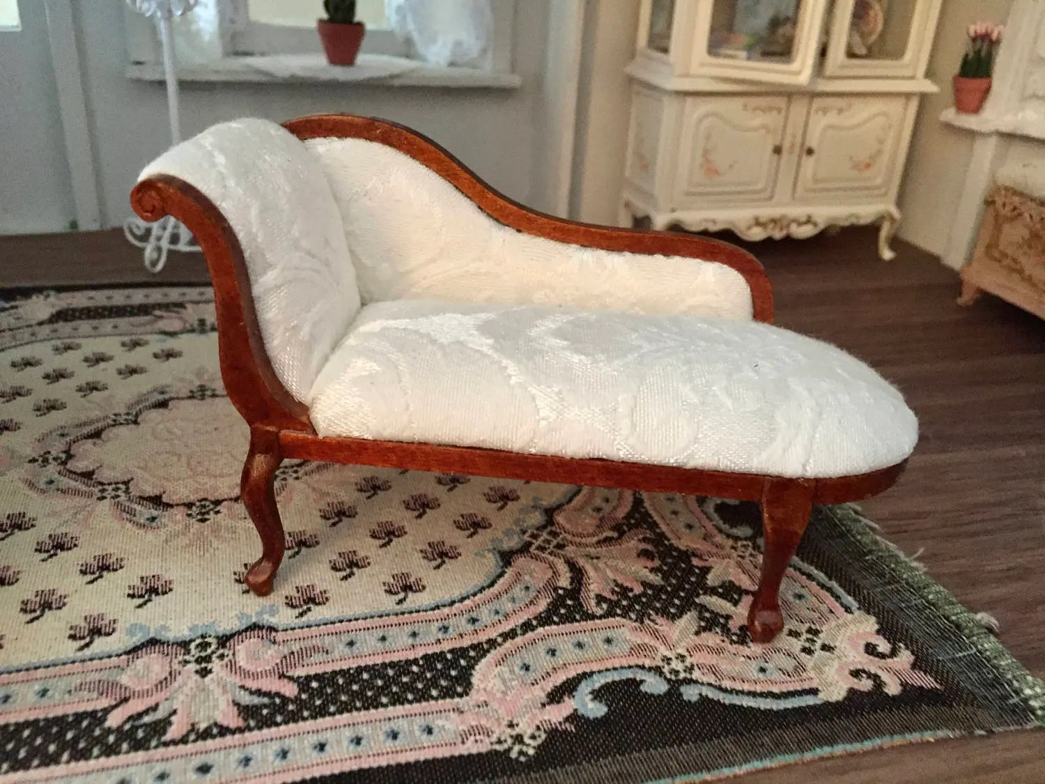 Chaise Design Miniature Miniature Chaise Queen Anne Style Upholstered Lounge